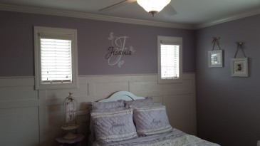 Girl's room ideas. Wainscoting tutorial. Board and batten. Purple bedroom. Vinyl lettering. Pottery barn bedding. Trim windows.