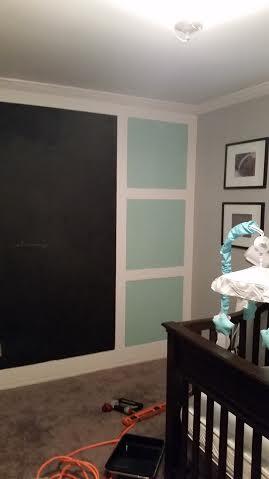 Boy's nursery. Chalkboard wall. Feature wall. Use this image to inspire your nursery ideas. Teal, aqua, grey and chevron nursery.