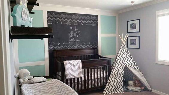 Chalkboard Feature Wall Nursery Tepee. Boy's nursery. Chalkboard wall. Feature wall. Use this image to inspire your nursery ideas. Teal, aqua, grey and chevron nursery. Kid spaces